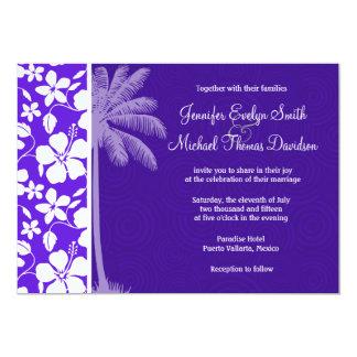 Tropical Purple Hibiscus Custom Invitations