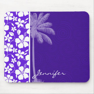 Tropical Purple Hibiscus Mouse Pad