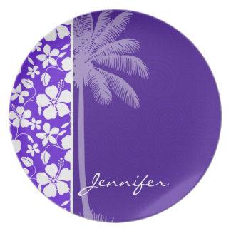 Tropical Purple Hibiscus Plates
