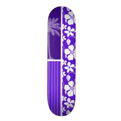 Tropical Purple Hibiscus Skate Boards