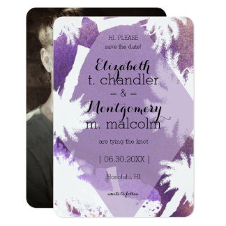 Tropical Purple Photo Save the Dates Card