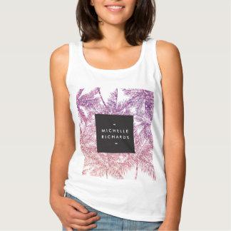 Tropical Purple/Pink Glitter Palms Basic Tank Top