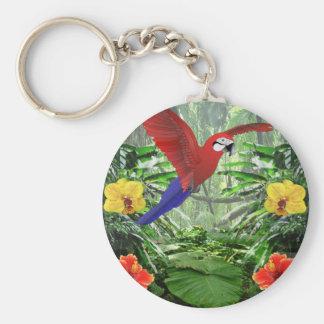 Tropical Rain Forest Basic Round Button Keychain