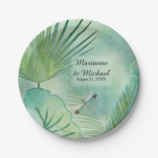 Tropical Rain Forest Leaves Dragonfly Weddings Paper Plate