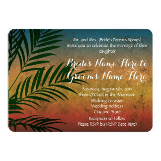 Tropical Rainbow Beach Palm Wedding Invitations