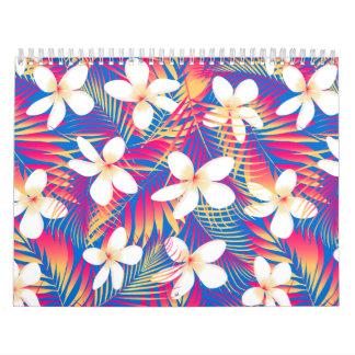 Tropical rainbow frangipani calendar