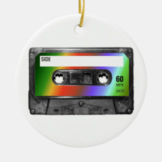Tropical Rainbow Label Cassette Ceramic Ornament
