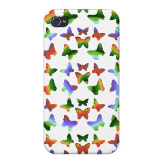 Tropical Rainbow Swirl Butterflies Cases For iPhone 4