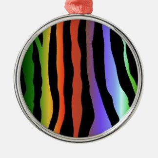 Tropical Rainbow Zebra Stripes Metal Ornament