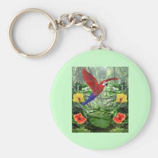 Tropical Rainforest Basic Round Button Keychain