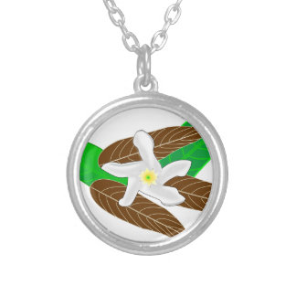 Tropical Rainforest Flower Silver Plated Necklace