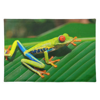 Tropical rainforest green red-eyed tree Frog Cloth Placemat