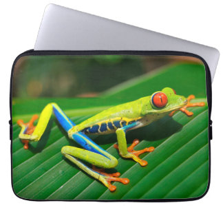 Tropical rainforest green red-eyed tree Frog Computer Sleeve