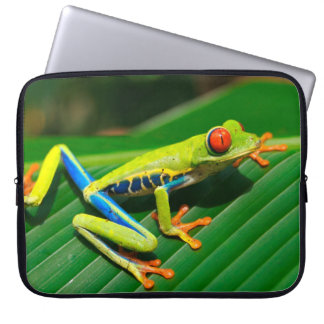 Tropical rainforest green red-eyed tree Frog Laptop Sleeve