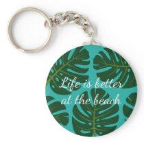 Tropical rainforest Monstera palm leaf keychains