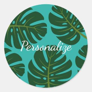Tropical rainforest palm leaf floral favor sticker