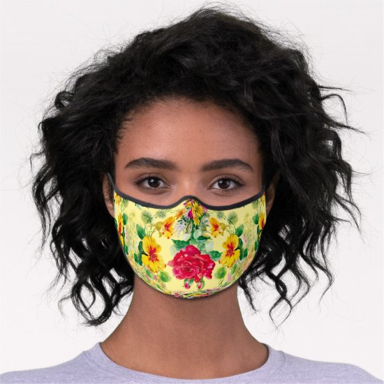 Tropical Red and Yellow Flowers on Yellow Back Premium Face Mask