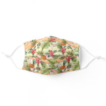 Tropical Red Blush Pink Orange Floral Watercolor Adult Cloth Face Mask