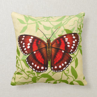 Tropical Red Butterfly Pillow