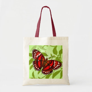 Tropical Red Butterfly Tote Canvas Bag
