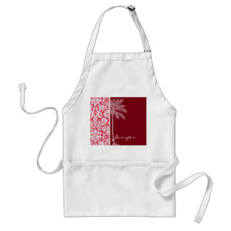 Tropical Red Damask Adult Apron