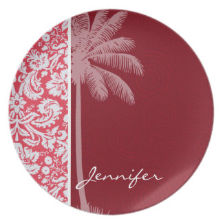 Tropical Red Damask Dinner Plates