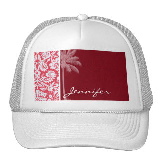 Tropical Red Damask Trucker Hats
