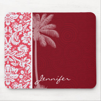 Tropical Red Damask Mouse Pad