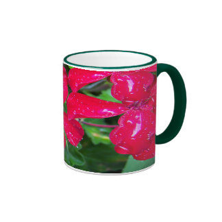 "Tropical Red Flowers - ""After the Rain"" Ringer Mug"