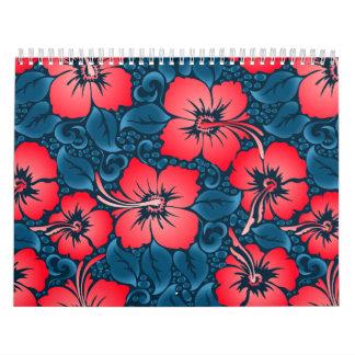 Tropical red flowers on navy calendar