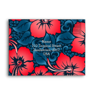 Tropical red flowers on navy envelope