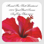 Tropical Red Hibiscus address labels Stickers