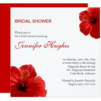 Tropical Red Hibiscus Bridal Shower Invitation