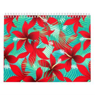 Tropical red hibiscus calendar
