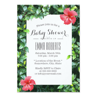 Tropical Red Hibiscus Flowers Baby Shower Card