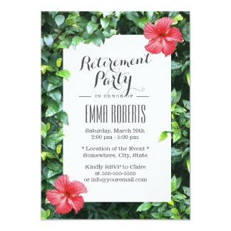 Tropical Red Hibiscus Flowers Retirement Party Card
