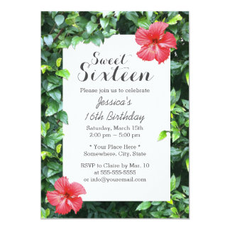 Tropical Red Hibiscus Flowers Sweet 16 Card