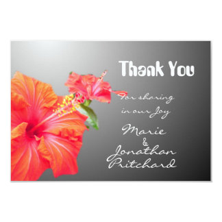 Tropical red hibiscus flowers Thank You wedding Invites