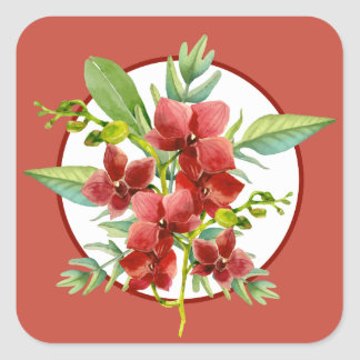 Tropical Red Orchid Watercolor Wedding Stickers