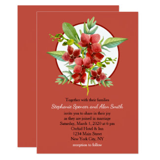 Tropical Red Orchids Floral Watercolor Wedding Card