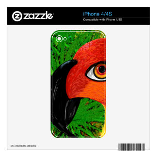 Tropical Red Parrot Skins For The iPhone 4S