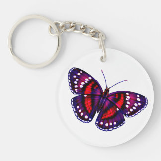 Tropical Red Purple Butterfly Keychain