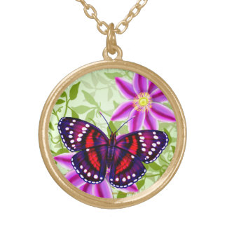 Tropical Red Purple Butterfly Pendant