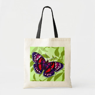 Tropical Red Purple Butterfly Tote Tote Bag