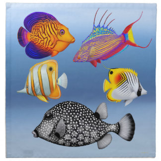 Tropical Reef Aquarium Fish American MoJo Napkins