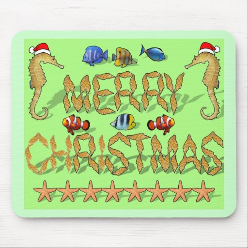 Tropical Reef Christmas Mouse Pad