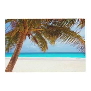 Tropical Relaxing Beach Palm Scene Placemat at Zazzle