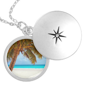 Tropical Relaxing Beach Palm Scene Round Locket Necklace