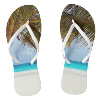 Tropical Relaxing Blue Beach Scene Flip Flops