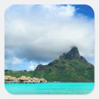 Tropical resort on Bora Bora square sticker